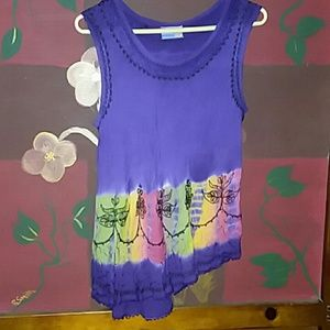 Tie dyed flowy dress or swim suit cover up.